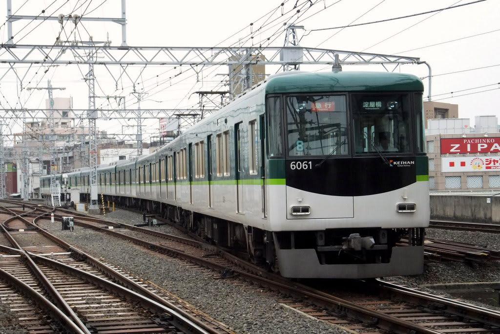 京阪6000系淀車庫から回送されてきた樟葉発淀屋橋行き急行