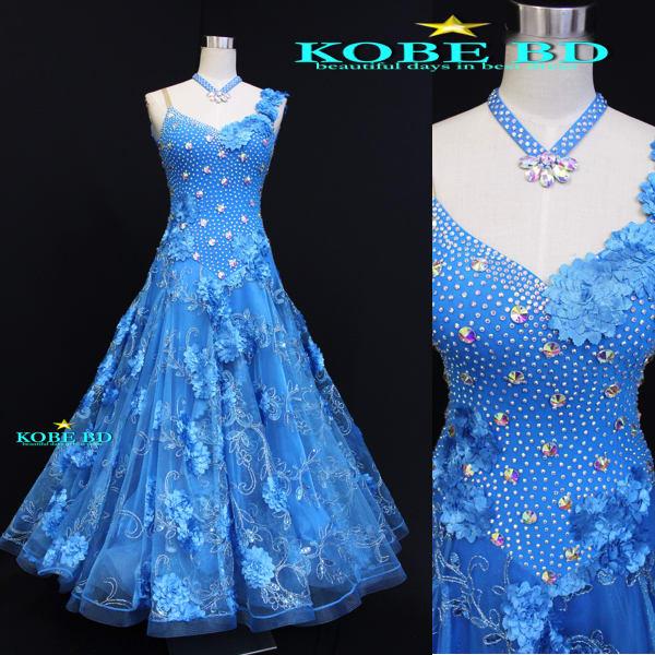 47cbe3c348ea2 深みの有るブルーカラードレスが完成しました。夏の海や青空を連想させる、爽やかなドレス。スカートはデコレーションの入った同色をチョイスで華やかさも忘れませ  ...