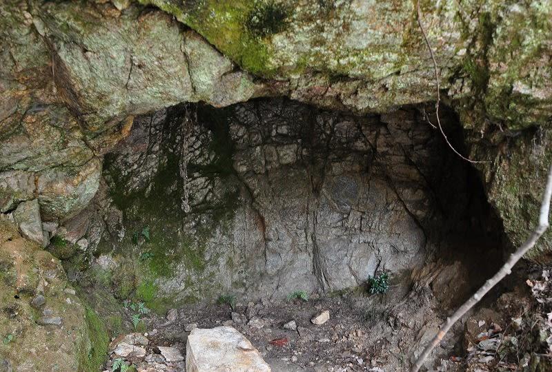 登山道最初に見える横穴?