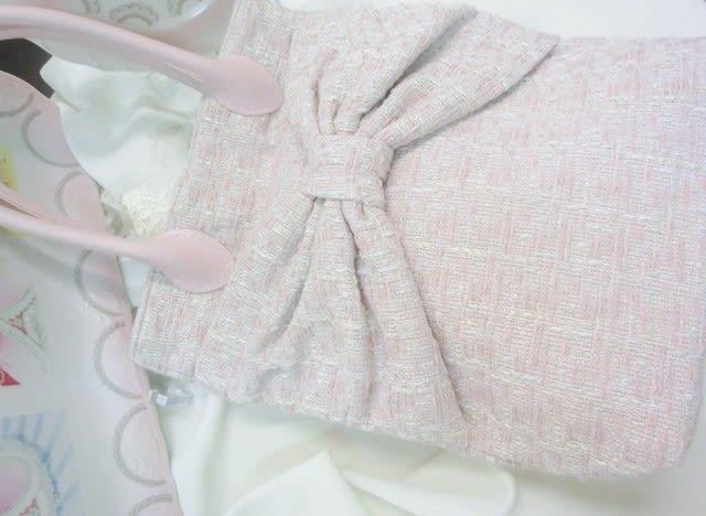 64bfab830c447 ロマンティックが大好きなみなさまには胸がときめくシュガーピンク×ベビーピンク×ミルキィ・ホワイトのリボンツイード☆彡