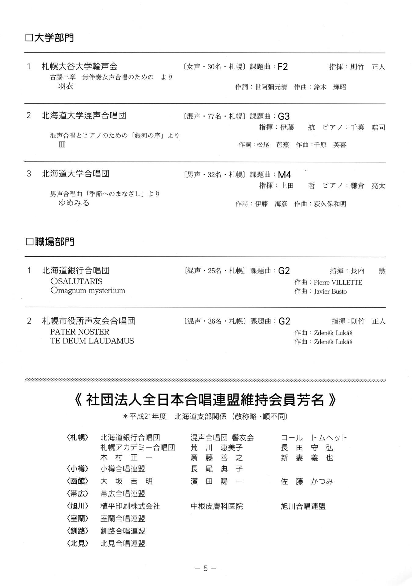 c06860df8d12c 大 学:札幌大谷大学・輪声会職 場:北海道銀行合唱団一般A:ローズクォーツアンサンブル一般B:THE GOUGE