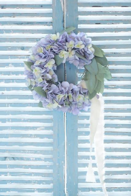 紫陽花とユーカリのリース