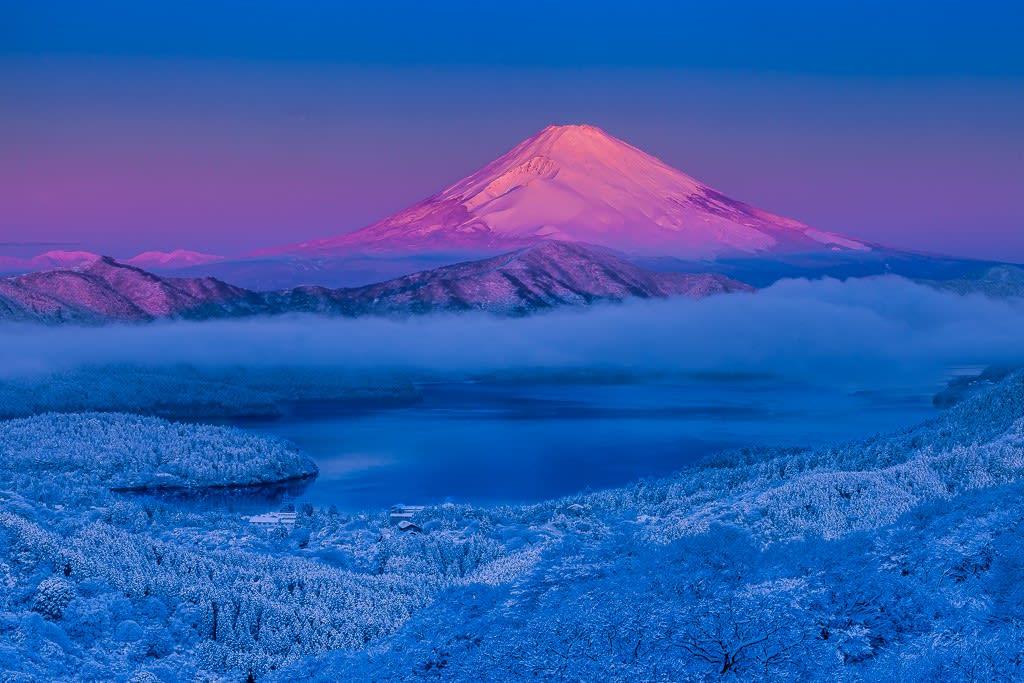 箱根大観山より紅富士の写真