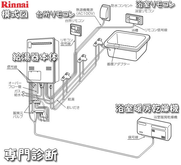 ガス給湯暖房機_本体・配管模式図