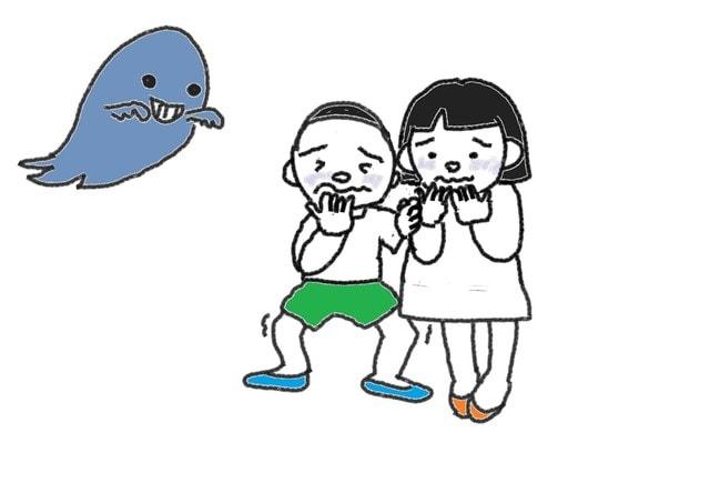 47課 イ形容詞 怖い スーザンの 日本語教育 手描きイラスト