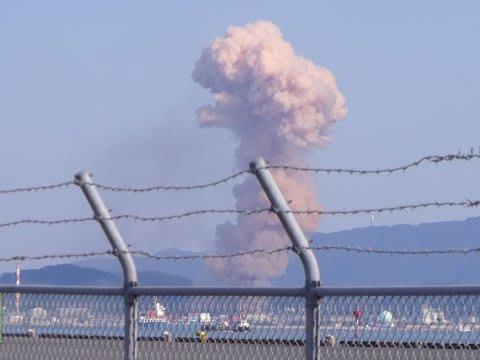 下関三井化学爆発事故のキノコ煙 のぼせもんktq2