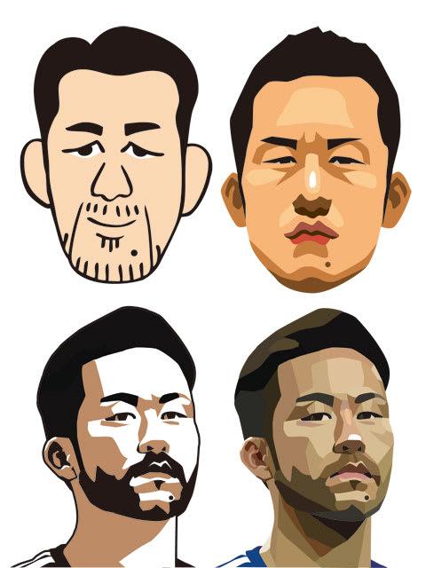吉田麻也選手の似顔絵サンプル