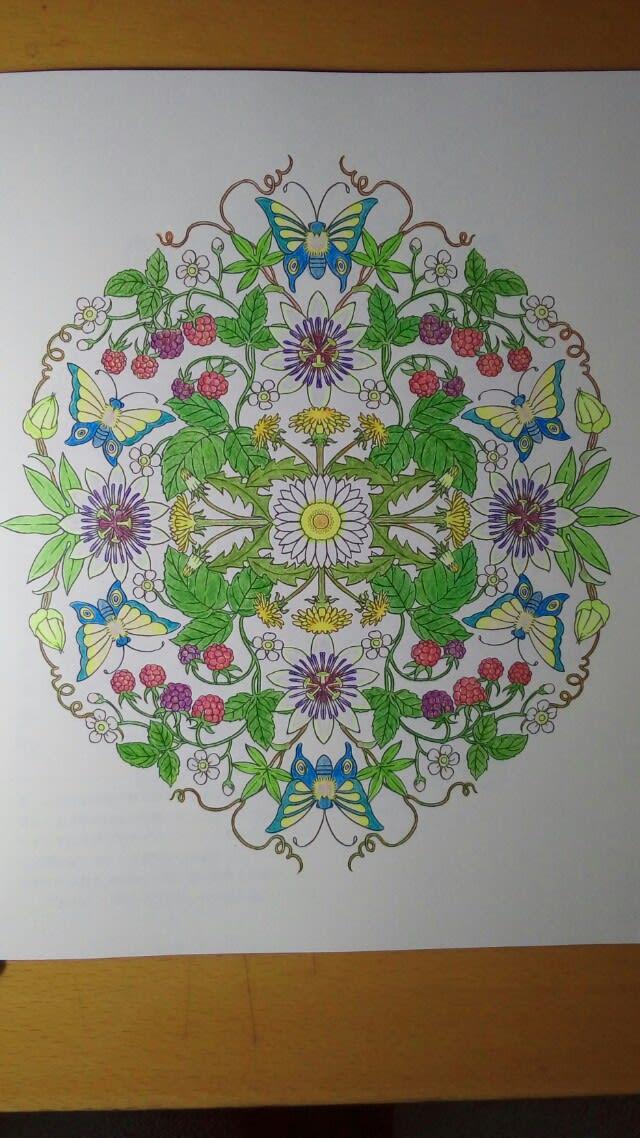 マンダラコロリアージュ木苺と時計草ひとまず完成 Color Pencil
