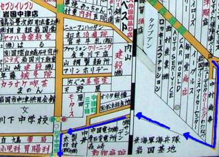 川下中学校周辺地図(私の歩いたルートを青線で表示)