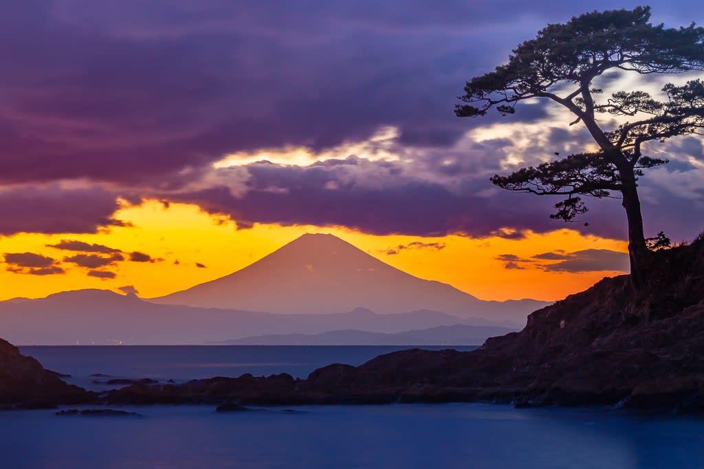 秋谷海岸より富士の写真