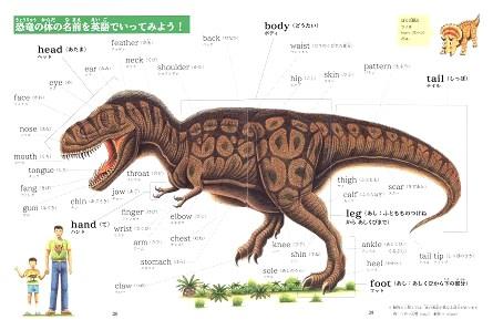 「恐竜ABC」では、「恐竜の体の名前を英語でいってみよう」のページがあります。顔はface(フェイス)、 鼻は nose(ノウズ)、口は  mouth(マウス)、舌は tongue(