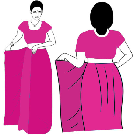 8cfc064973 The bottom border of the saree should touch the top of your feet, and  should look parallel to the floor.