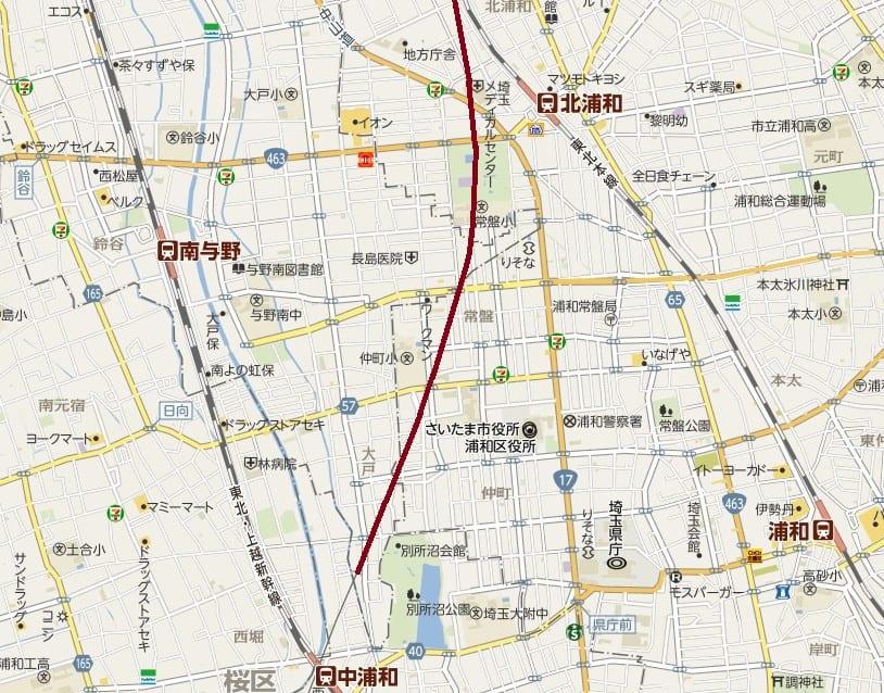 浦和区北浦和の線路沿いから与野駅まで - 咲いた万歩