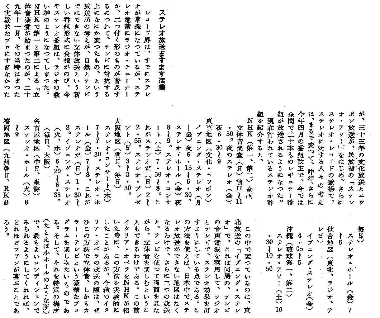 ステレオ放送黎明期(昭和29年~...
