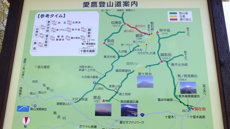 愛鷹山登山道案内図