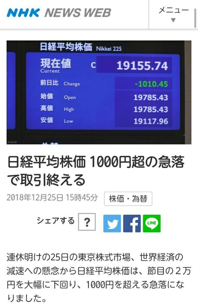 アベノミクス破綻…安倍某の終焉!日経平均株価2万円を下回る…1000円超の急落!打つ手なし!米国や中