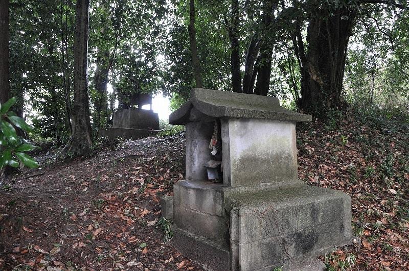 古風上の高まり:奥が高杉神社の祠