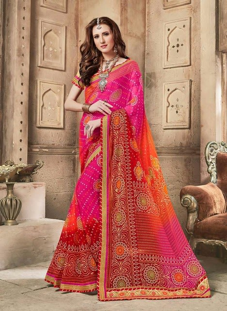 c68a7ee6a7 ... Bandhej sarees with Gota embroidery and patch border. The Bandhani  Crepe Silk Sari having Jaipuri prints, with tinsel printing on them and  border ...