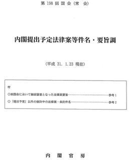 第198回国会における内閣提出法案(過去2番目の少なさ) - 議会雑感