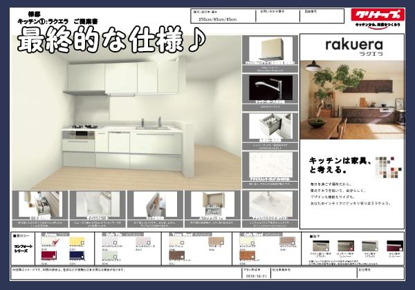 最終的な仕様システムキッチンプランボード