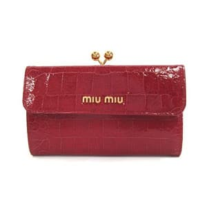 official photos 920e1 2d539 MIUMIU 財布 新作 クロコ型押しレザー がま口付き 二つ折財布 ...