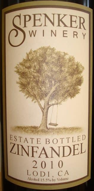 Spenker Winery Estate Bottled Zinfancel Lodi 2010