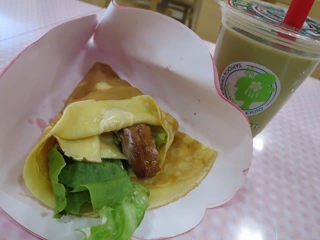 照り焼きチキンマヨネーズクレープ+京抹茶手作りミルクティータピオカドリンク