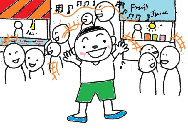 ナ形容詞 26課 賑やかな 静かな スーザンの 日本語教育 手描きイラスト