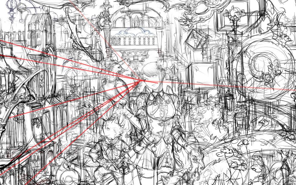 これくらいの大きさの画像にすると、かなり線が荒く見えますが、建物の線を決めるために必要な線のみを引いています。 線画の描き方
