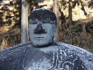 万治の石仏の頭部