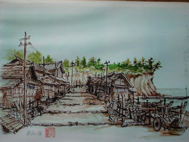 北茨城市大津漁港の珍しい風景画 3点 - れいな日記《Reina- diary》