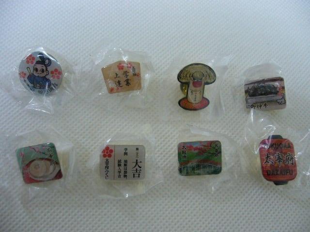 ⑥太宰府ピンズの全部:菅原道真、絵馬、木うそ、御神牛、梅ヶ枝餅、おみくじ、太鼓橋、ちょうちん