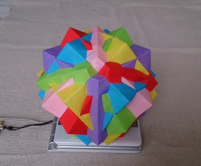 折り紙で6つの立方体の複合多面...