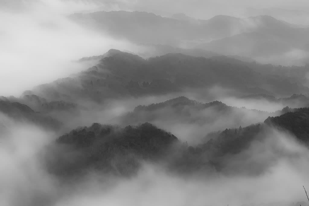 九十九谷のモノクロ写真