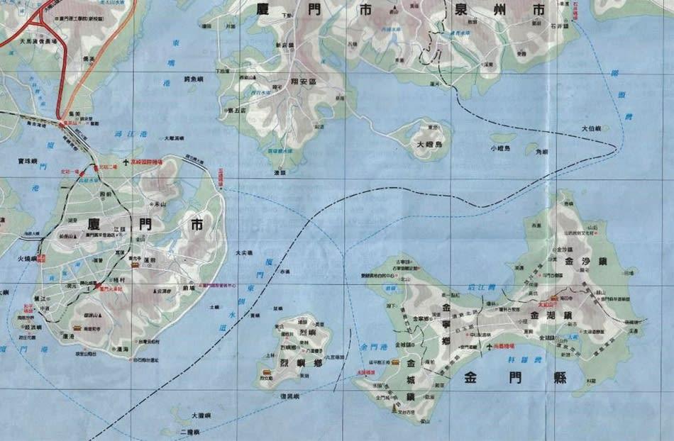 厦門と金門島の位置関係を示す図...