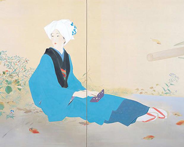 鏑木清方「桜もみじ」 - 玉川上...