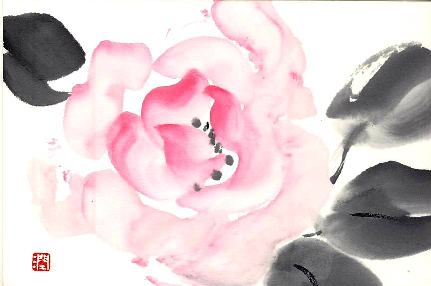 墨彩画 薔薇 ハガキ