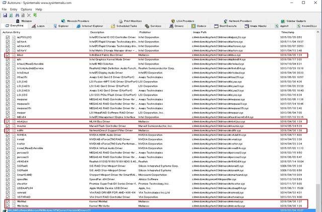 """Windows10 にインストールされている """"Mellanox"""