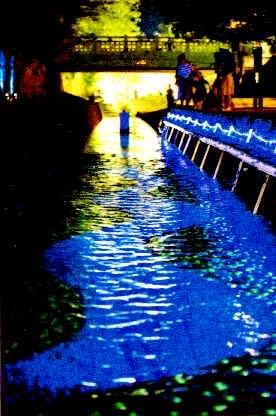 ライトアップした堀川歩道