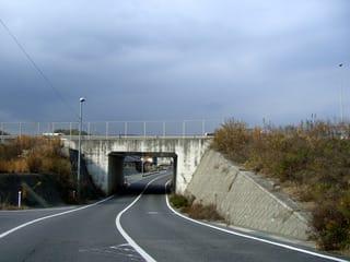 南岩国バイパスの下を走る道路(左手が牛野谷三丁目交差点付近)