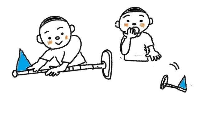 動詞 倒します 倒れます スーザンの 日本語教育 手描きイラスト