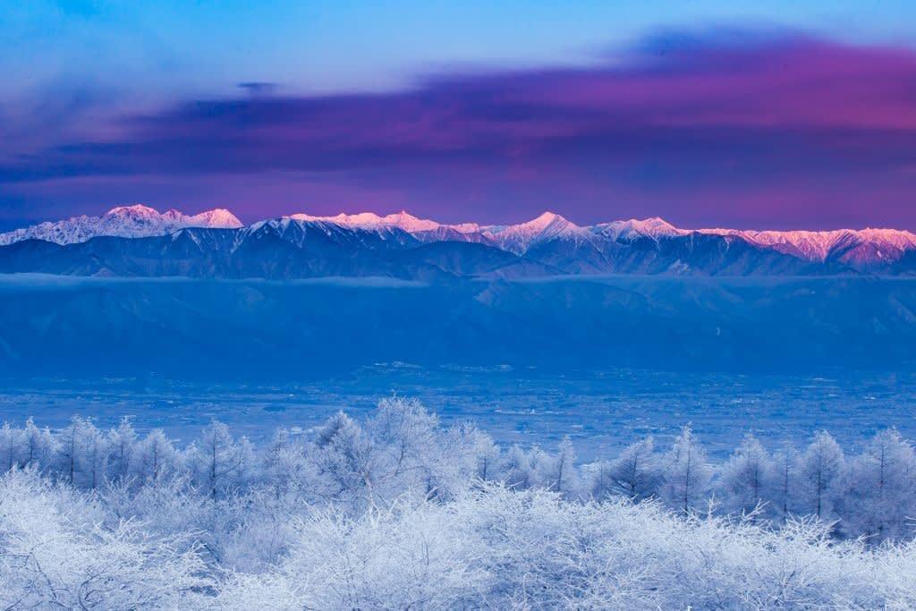 霧氷と北アルプスの写真