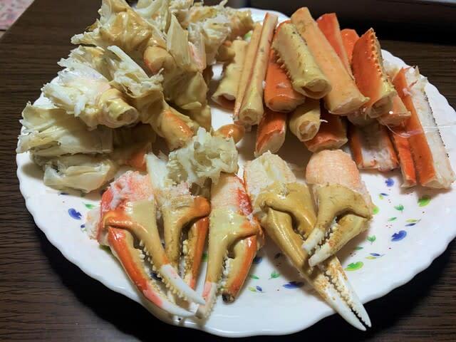 蟹ラーメン@自宅仕込み 塩茹で、蟹玉、蟹ラーメン