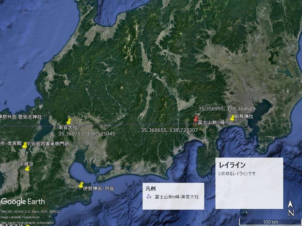 前鳥神社、富士山剣ヶ峰、南宮大社レイライン