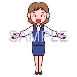 女性立ちポーズ2販売員販売ビジネスのイラスト 素材屋イラストブログ