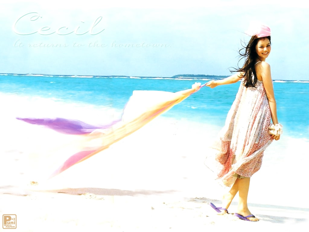 砂浜を歩く岸本セシル