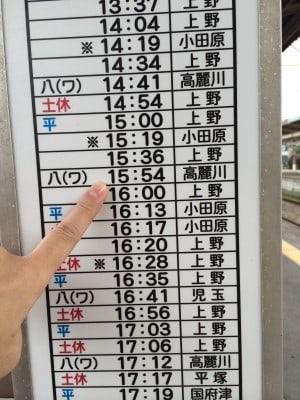 一日のココのホームからの時刻表がありました。 ワタシ達が乗るのは・・・15:54八高線、ありました~