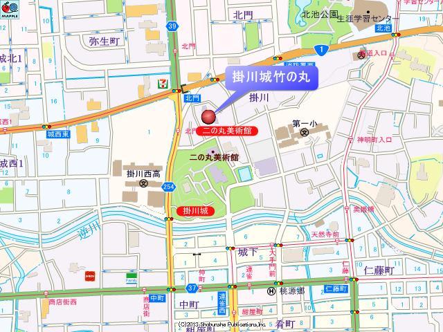 掛川城竹の丸付近の地図