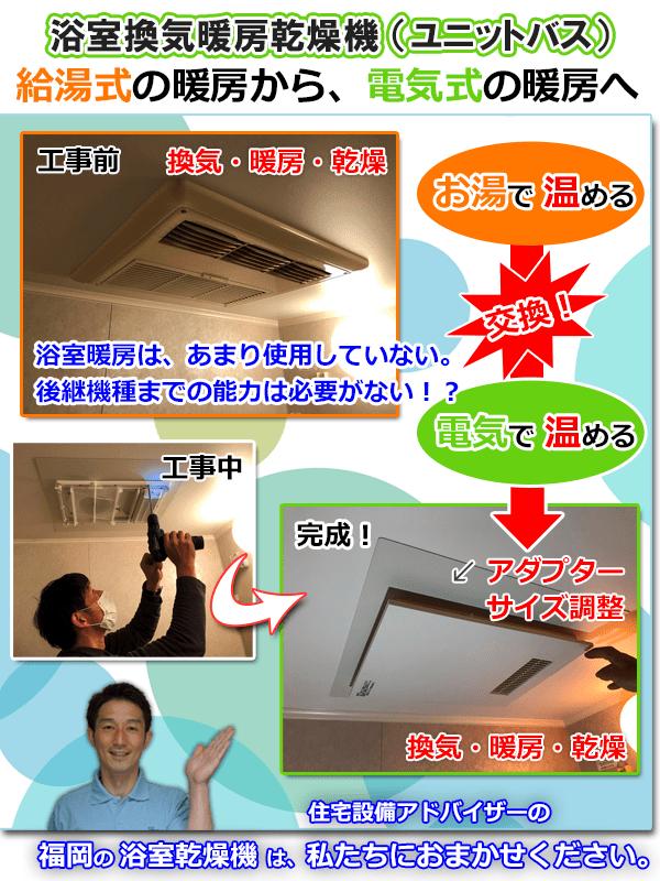 給湯式の暖房から、電気式の暖房への交換ブログ