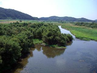 旧川辺橋より高梁川下流を望む